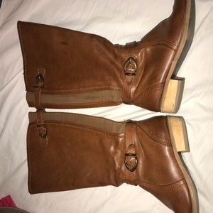 QVC Shoes - Brown Riding Boots Extended Calf